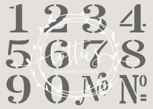Image Is Loading NUMBERS A4 Stencil NUMBER SET Vintage Font French
