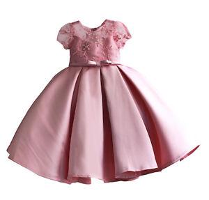 Vestito-Damigella-Cerimonia-Abito-Bambina-Rilievo-Fiori-Girl-Party-Dress-DGZF032