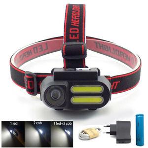 XPE-COB-Led-Headlamp-USB-rechargeable-Headlight-18650-Head-Lamp-Torch-Light