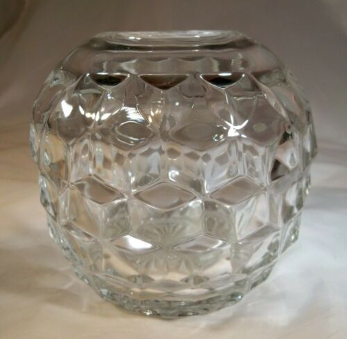 "FOSTORIA GLASS CO. AMERICAN CRYSTAL CLEAR 5"" DIAMETER ROSE BOWL VASE!"