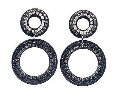Ladies Silver Hoop Earrings Large Hooped Sleeper Crystal Drop Dangle Women Oval