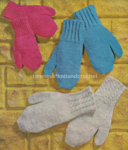 VINTAGE KNITTING PATTERN FOR CHILDREN/'S MITTENS DK MITTS in 3 sizes