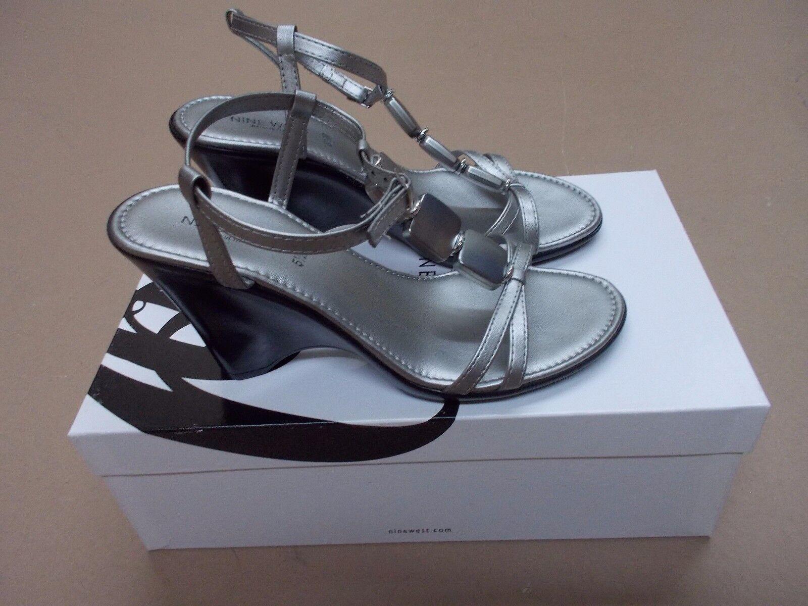 NEW Nine West St. Croix womens tstrap ankle strap sandals heels silver size 5.5