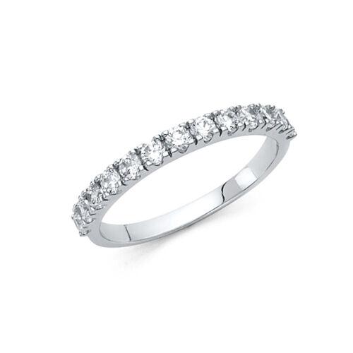 14k Solid White Gold 0.50 Ct Diamond Wedding Band Ring Round Cut