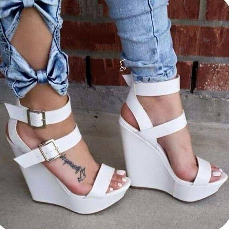 Le donne Bianco Con Zeppa Tacco Punta Aperta Fibbia Party Sandali Scarpe Alte Casual grandi dimensioni