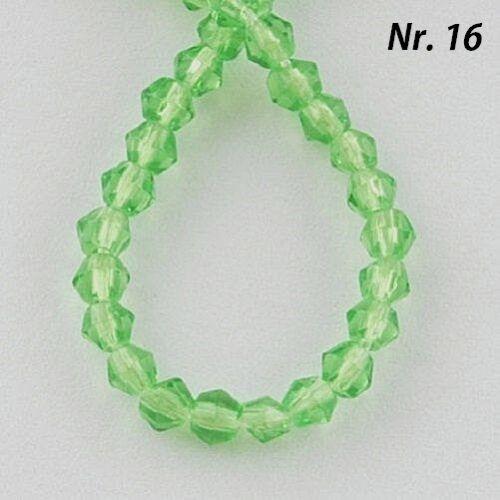 3 Stränge  BICONE  DOPPELKEGEL GLAS  PERLEN  VERSILBERT  VERGOLDET  SCHMUCK //216