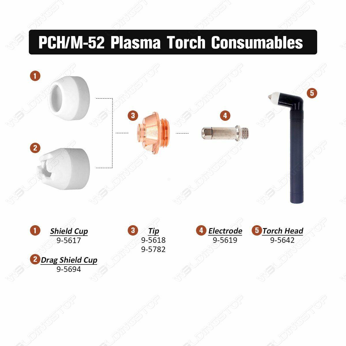 9-5619 Plasma Electrode 9-5618 Tip 50A 9-5617 fit PCH-52 PCH-53 PAK5XR Pkg-22