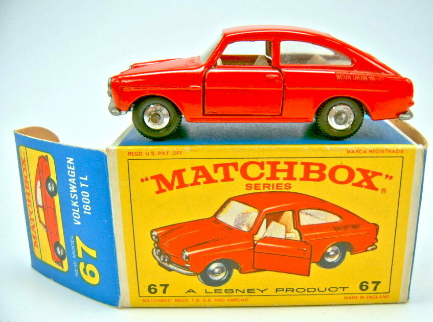 Matchbox Rw 67b VW 1600tl Red RARE base plate without patent number