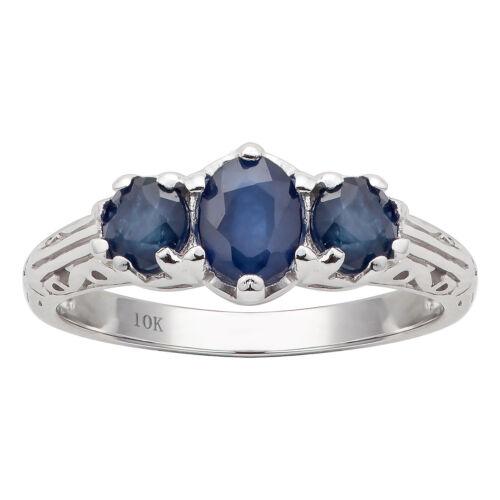 10k White Gold Vintage Style Genuine 3-Stone Sapphire Ring