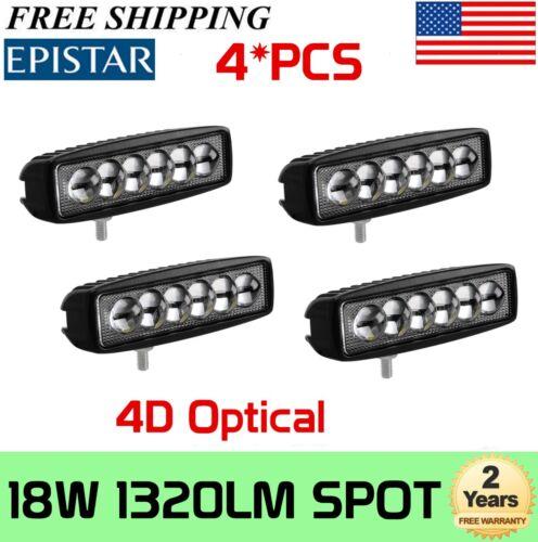 4X 6INCH 18W Spot 4D LED Work Light Bar Strop Offroad Driving Lamp SUV UTE 15W