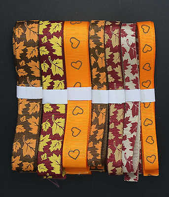 "5yards 3/8"" 5/8"" Thanksgiving Maple Leaf Grosgrain Ribbon Free Shipping"