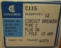 Challenger C115 15 Amp, 1 Pole, Type C Plug-in Circuit Breaker, Box Of 12 -