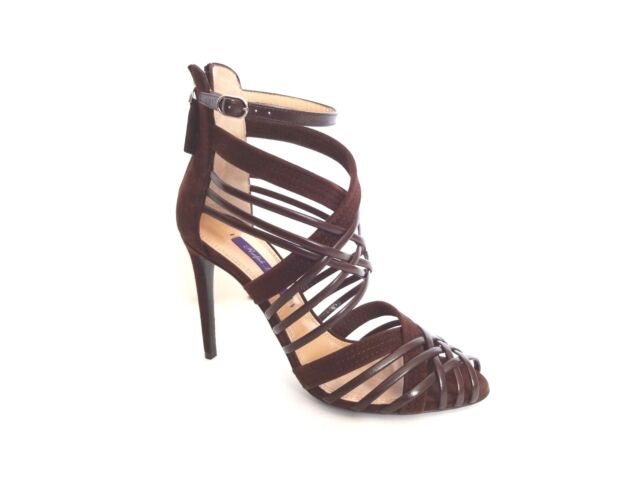 ac555e5226f New Ralph Lauren Collection Italy Brown Suede Bliara Strappy Sandals Shoes  35 B