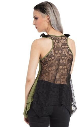 Jawbreaker Green Ouija Board Occult Lace Back Loose Fit Bow Vest Top Goth Witch