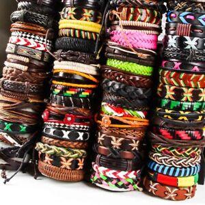 Wholesale 30pcs Mix lots Genuine Handmade Leather Cuff Bracelet Wristband Bangle