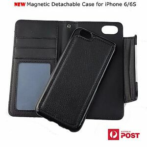 pretty nice 40d7e a2586 Details about Magnetic Detachable Wallet Leather Case Removable Cover For  iPhone 6/6S 4.7''