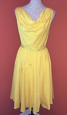 Suzi Chin for Maggy Boutique Retro Housewife Belted Yellow Sundress   VGUC