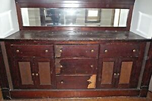 Details About Antique Victorian Style Built In Buffet Cabinet 1905 Fir Architectural Salvage