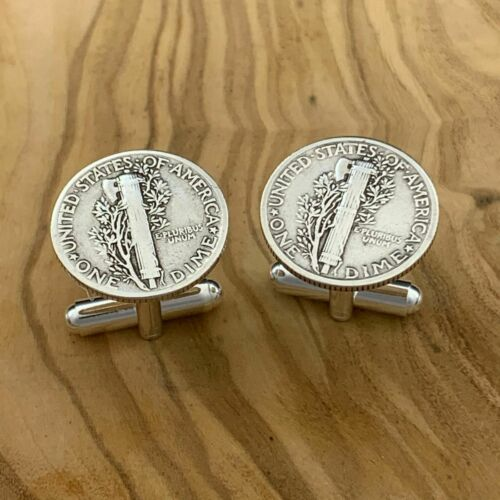 New Cufflinks Vintage 90/% 900 Silver Liberty Dime Silver Plated Backings