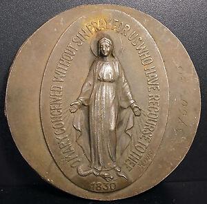 La Virgin Marie Slaying The Demon Dragon 1830 Medallion Signed Karo 5 1/8in