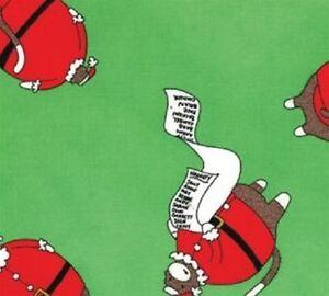 Moda - Santa's Little Helpers - Green Checkin' The List Cotton Fabric - 11 yards