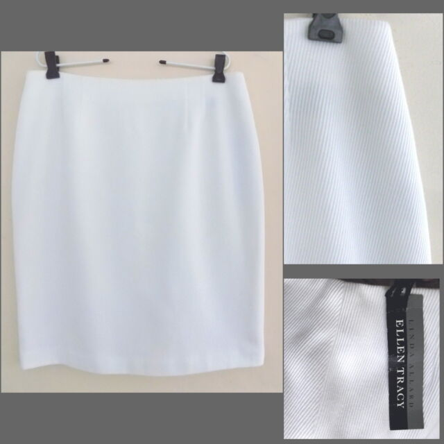 NWT White pencil skirt 14 Pure cotton Ribbed Twill Ellen Tracy Straight Texture