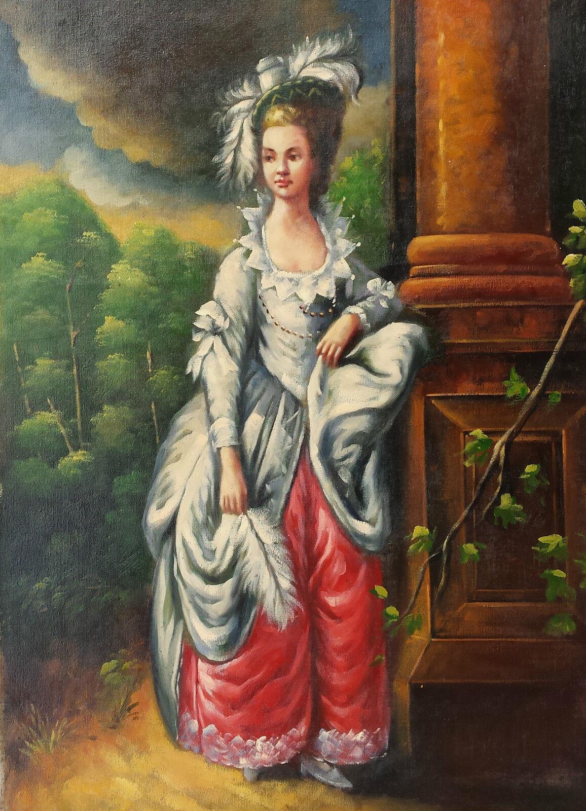 Dipinto Olio su Tela - 50x70 cm - Ritratto di Dama - Quadro Donna