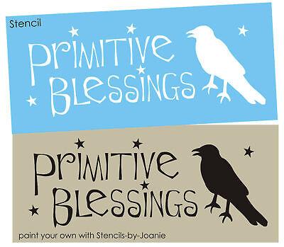 Stencil Primitive Blessings Crow Black Bird Country Folk Art Stars Craft Sign