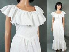 Hippie Wedding Gown XS 70s White Long Prairie Girl Dress Eyelet Embroidery Train