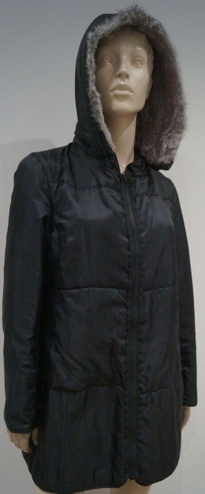 GERARD DAREL Negro Desmontable  Piel De Conejo Capucha Acolchada Chaqueta de Abrigo de invierno 44 16  alta calidad general