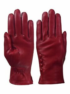 Giromy-Samoni-Womens-Warm-Winter-Plush-Lined-Leather-Driving-Gloves-Red