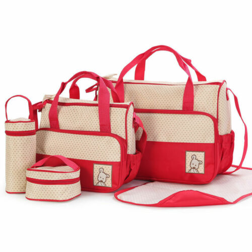 Baby trendy boys girls nappy diaper changing bag 5 piece set NEW mummy shoulder