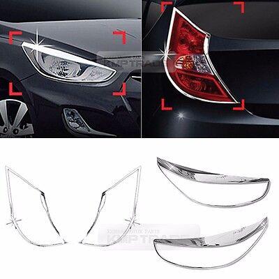 For HYUNDAI 11-17 Accent Venra (5D) Chrome Head Light Rear Lamp Molding Trim 4P