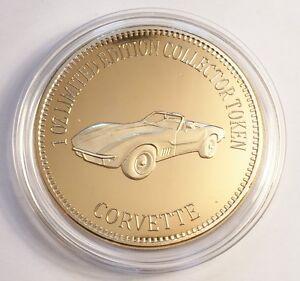 034-CORVETTE-034-Muscle-Car-Series-1-0z-HGE-999-24k-Gold-Coin-token-LTD-2-500