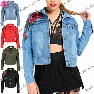 Image is loading Ladies-Womens-Denim-Rose-Embroidered-Jacket-Front-Button-