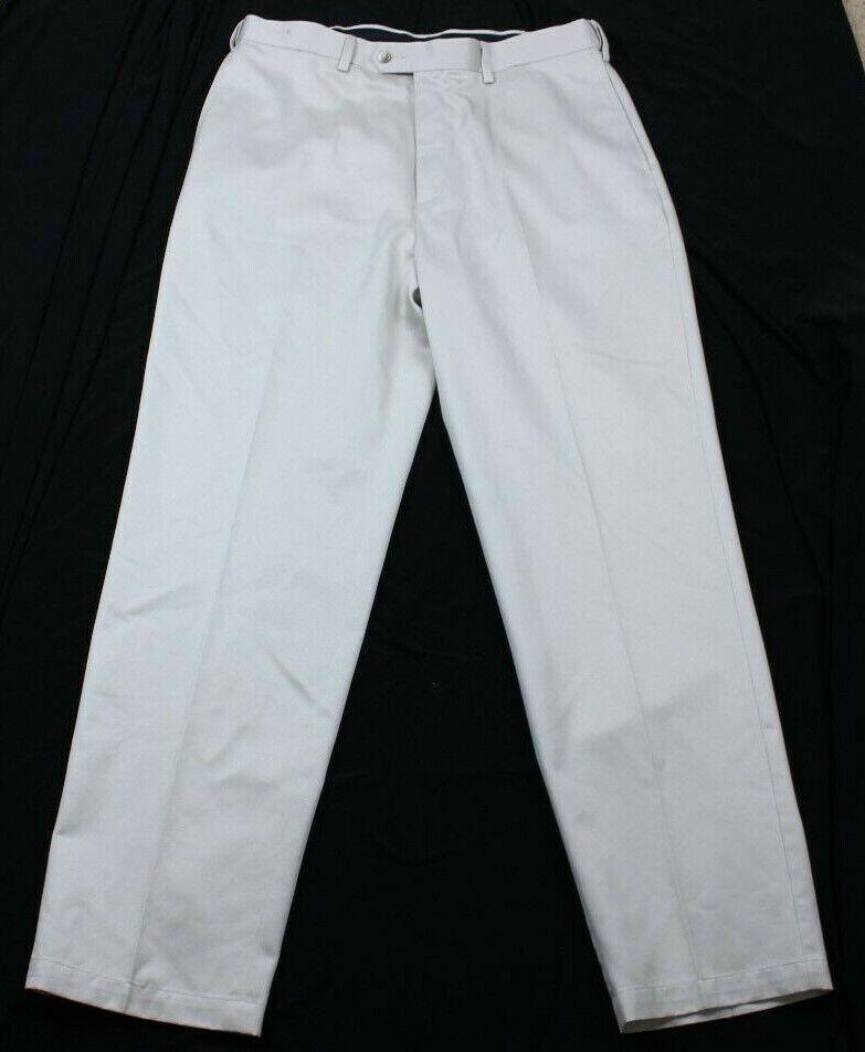 Savane Men's Khaki Straight Flat Front Beige Pants W34 L32