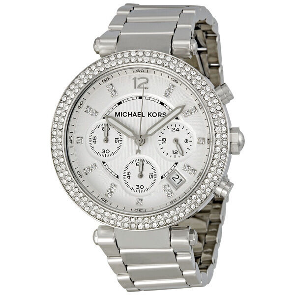 Michael Kors Silver Dial Stainless Steel Chronograph Ladies Watch MK5353