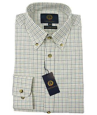 Viyella Plum Tattersall 80//20 Cotton Wool Blend Button Down Collar Shirt