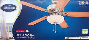 Harbor Breeze 52 Inch Brushed Nickel Ceiling Fan W Led