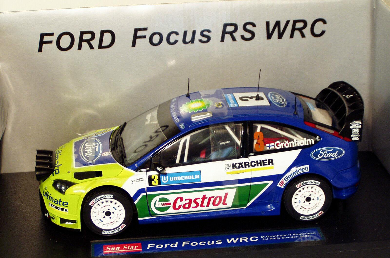 1 18 Ford Focus WRC Castrol Ganador Rally Suecia 2007 M. GRONHOLM