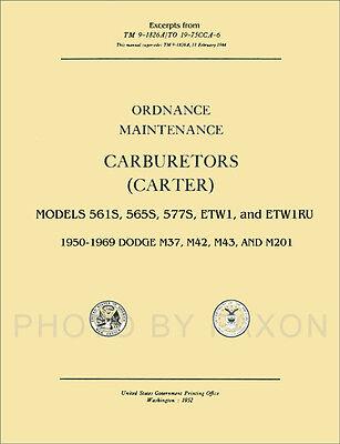 1950-1969 Dodge M37 Truck Carburetor Repair Shop Manual Carter M42 M43 M201