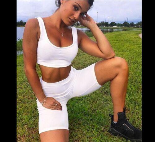Women Bodycon Hot Pants Party Shorts Lounge Set Bralet 2pcs Gym Jogging Fitnness