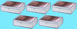 5-ULTRA-PRO-50-COUNT-CLEAR-HINGED-CARD-STORAGE-BOX-Case-Holder-Sports-Trading