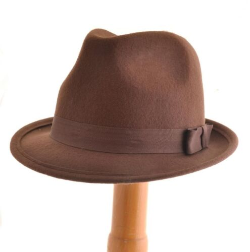 Brown Felt Trilby Fedora Hat L 59CM 100/% Wool Vtg 40s//50s Style Wedding Gangster