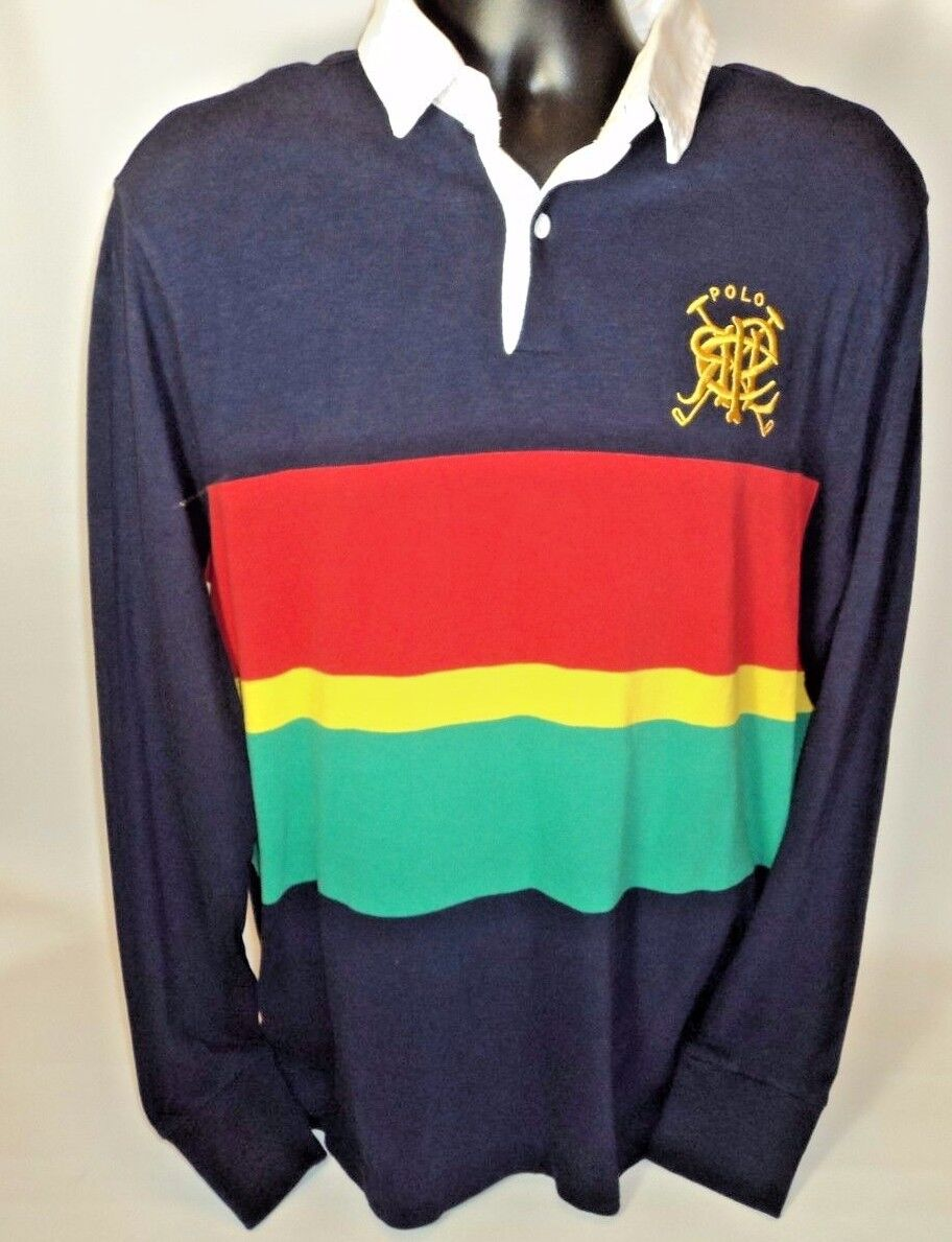 VINTAGE 90s POLO RALPH LAUREN Large RUGBY SHIRT blueE RED SCRIPT STRIPED SOLID