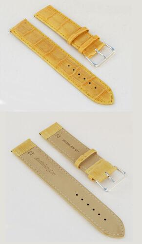 ALU-ferme beige bicolores-gravé 18 Mm Véritable Cuir Montres Bracelet