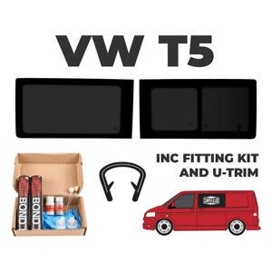 1x T5 T6 Transporter Driver Side Tinted Sliding Window,1x Pass FIXED +FIT KIT+U