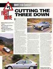 1994 BMW 316i Compact Original Car Review Print Article J604