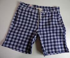 "M Nii (Makaha) PALAKASLIDER Surf Shorts Made in USA Blue/White - Waist 30"""