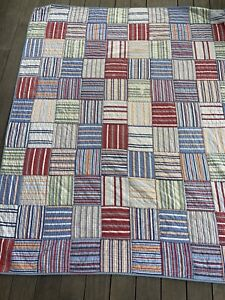 POTTERY BARN KIDS Boy's Twin Blue Striped Patch PATCHWORK ...